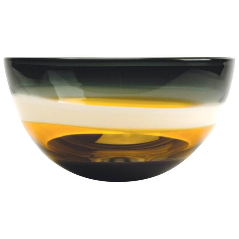 Earth Tone Blown Glass Bowl by California Designer Caleb Siemon