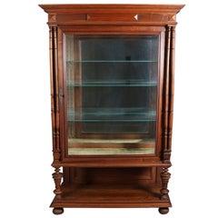 Vintage Carved Mahogany Mirror Back Curio Cabinet, 20th Century