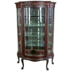 Victorian Carved and Gilt Oak Serpentine China Display Cabinet, 19th Century