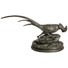 "Antique French Bronze Pheasant Signed ""Arcon"", circa 1910"