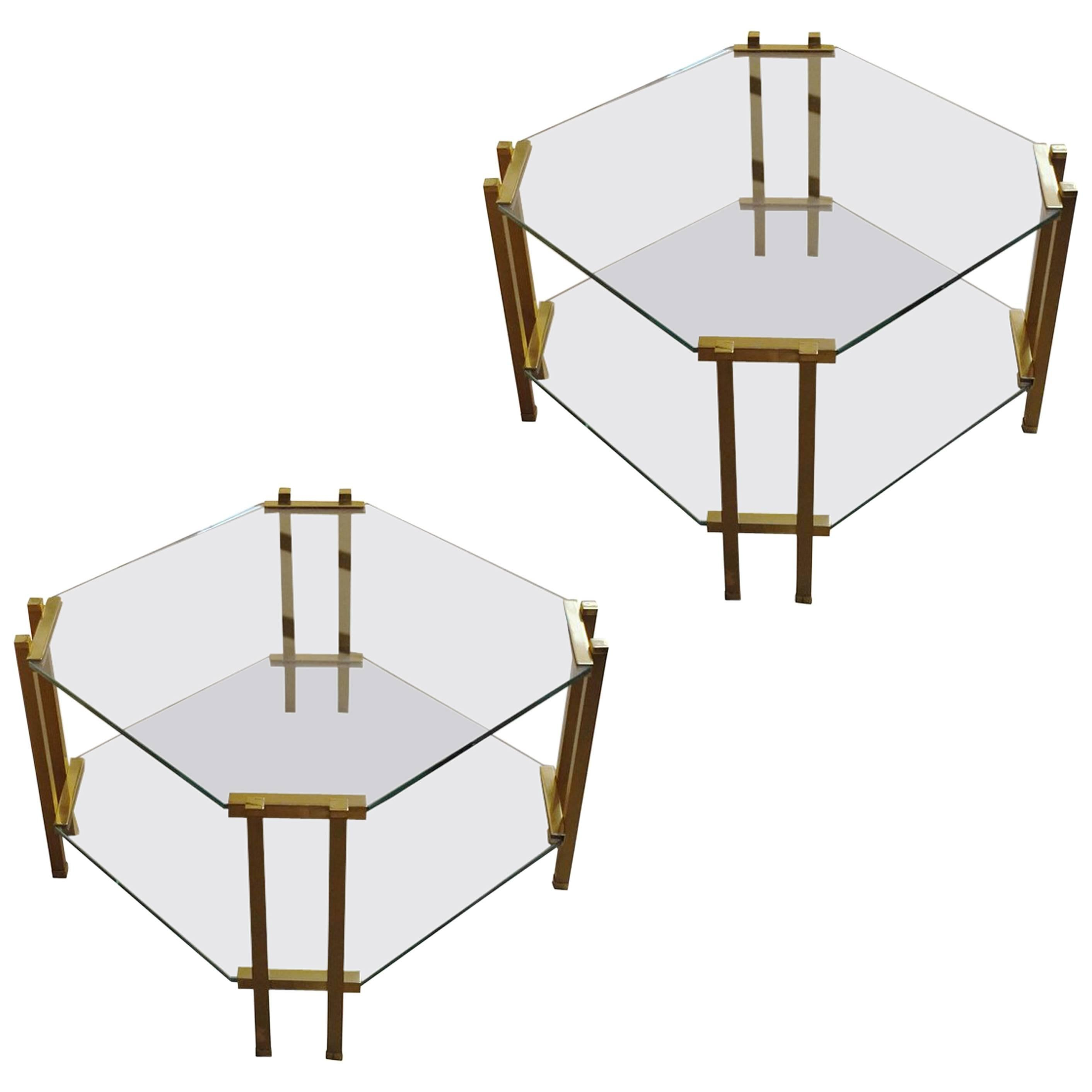 Pair Of Two Tier Glass Coffee Tables, France, 1960s For Sale