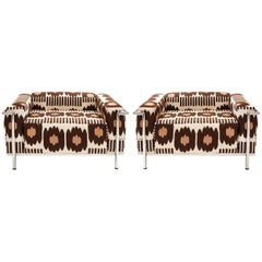 Pair of Vintage Signed Le Corbusier Armchair in Brown Collins Ikat Fabric