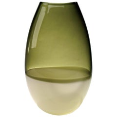 Bronze Ivory Glass U Vase, Handblown, Two Band Series by Siemon & Salazar