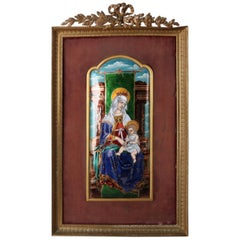 Antique Madonna and Child Hand Enameled Copper Plaque in Gilt Frame, circa 1900