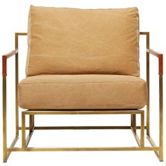 Sand Canvas and Tarnished Brass Armchair