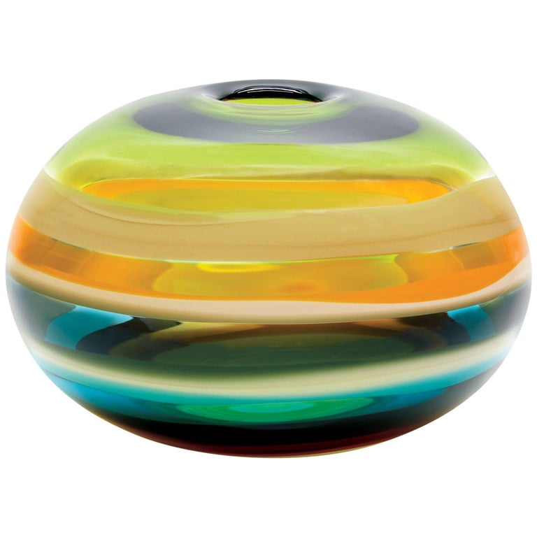 Large Green Blown Glass Sphere Bowl Sculpture, Banded Series by Caleb Siemon For Sale