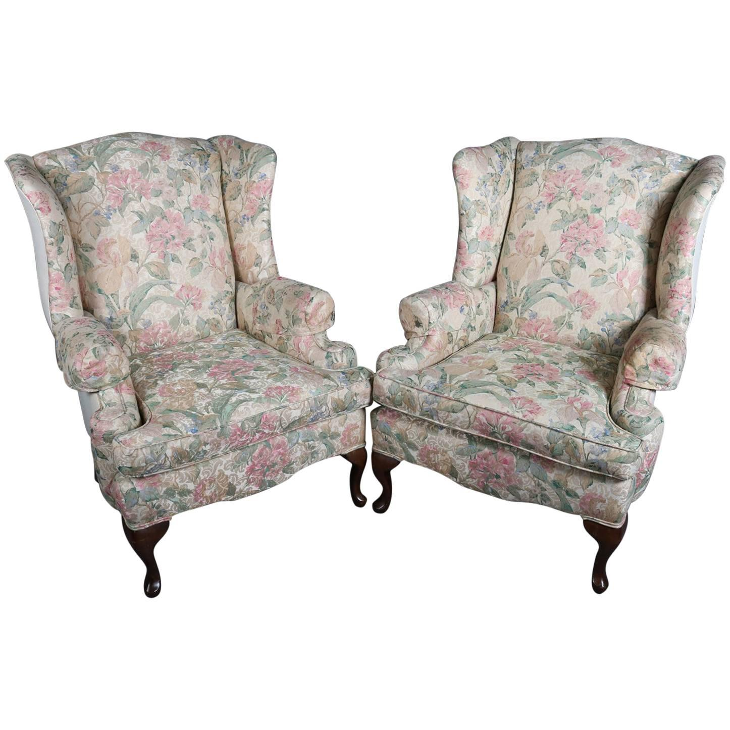 Pair Of Queen Anne Style Floral Upholstered Wingback Chairs, 20th Century  For Sale