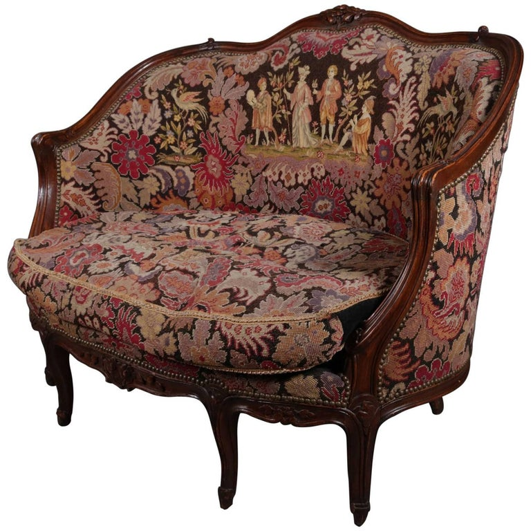 French Louis XV Style Mahogany and Pictorial Tapestry Settee, 19th Century For Sale