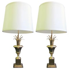 Pair of Midcentury Brass Pineapple Frond Table Lamps Maison Charles Attributed