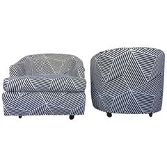 Milo Baughman Style Vintage Black and White Geometric Striped Swivel Club Chairs