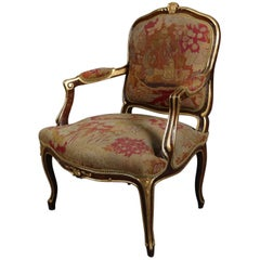 Louis XVI Style Parcel-Gilt Fruitwood and Tapestry Fauteuil, Early 20th Century