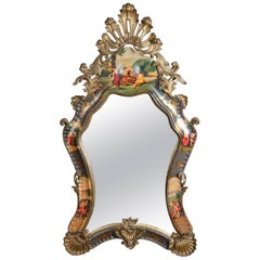 Monumental Italian Baroque Carved, Gilt and Hand Painted Wall Mirror