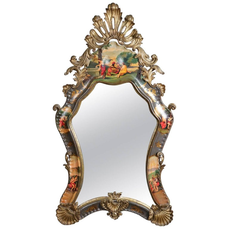 Monumental Italian Baroque Carved Gilt Hand Painted Wall Mirror 19th Century For