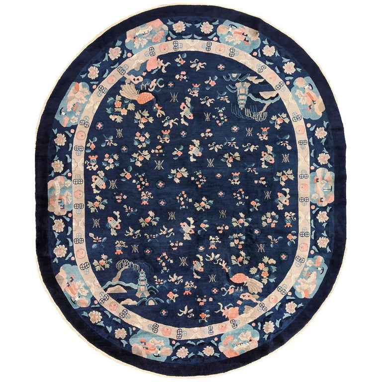 Oval Antique Navy Background Chinese Rug For Sale At 1stdibs