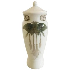 Bing & Grøndahl Unique Vase with Lid and Gold Decoration by EJ, Christmas, 1908