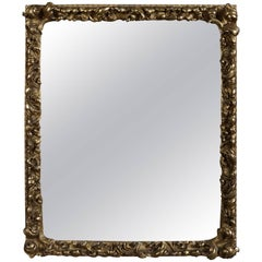 Antique First Finish Gilt High Relief Foliate Form Wall Mirror, 19th Century