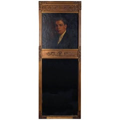 Oversized Giltwood Portrait Trumeau Mirror, Oil on Canvas of Baron, 19th Century