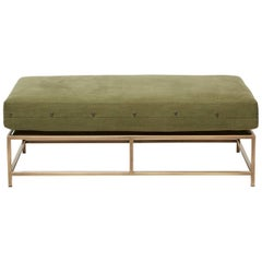 Vintage Military Canvas and Antique Brass Bench