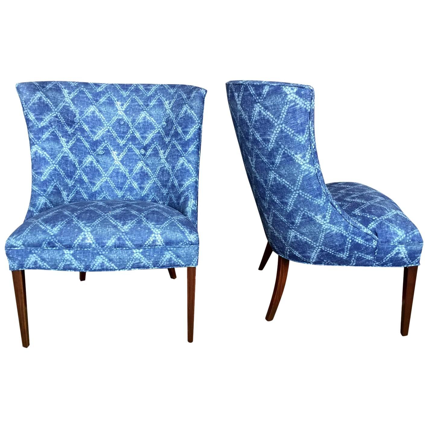 Pair Of Restored Vintage Wingback Chairs In Indigo Blue Shibori Fabric For  Sale