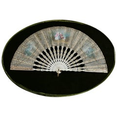 Antique French Hand Painted Gilt Decorated Fan with Carved Bone Frame