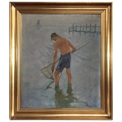 The Oyster Picker Dated 1870, Signed KD Hilbier