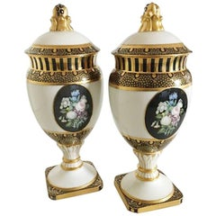 Bing & Grondahl Pair of Overglaze Vases with Gold Decoration by Theodor Larsen