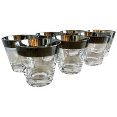 Mid-Century Modern Set of Seven Dorothy Thorpe Silver Overlay Cocktail Glasses