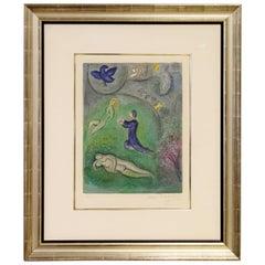 Mid-Century modern framed litho Daphins et Lycénion 26/60 Marc Chagall, 1961 COA