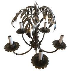 Vintage Palm Tree Leaf Frond Chandelier Silver Metal Faux Bamboo Palm Beach