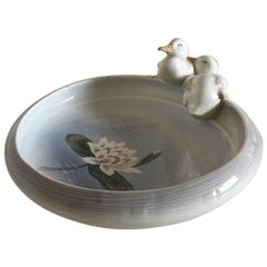 Royal Copenhagen Art Nouveau Bowl with Two Ducks #358