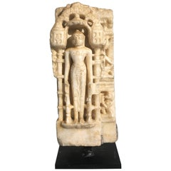 12th Century Indian Carved White Marble Figure of a Jain Tirthankara or Jina