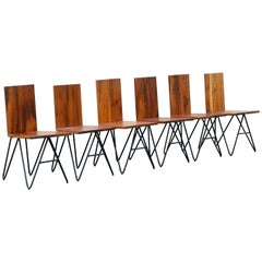 Set of Six Tiger Wood and Steel Modern Dining Chairs by Rehab Vintage Interiors