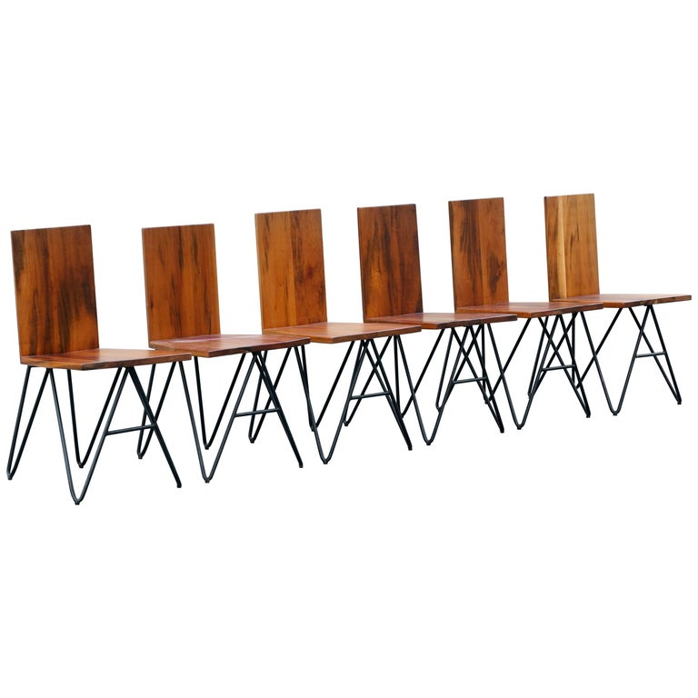 Set of Six Tiger Wood and Steel Modern Dining Chairs by Rehab Vintage Interiors For Sale