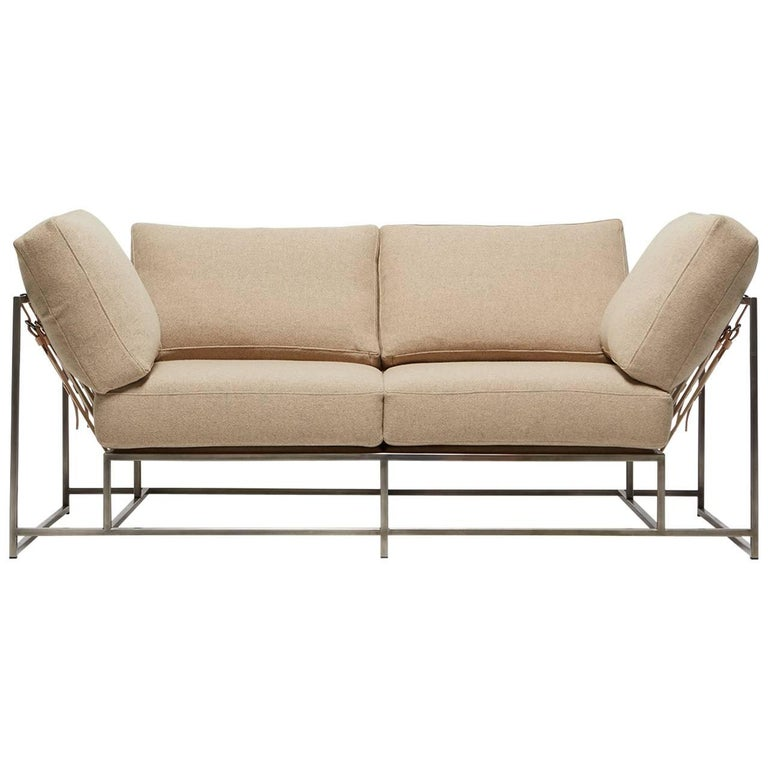Tan Wool and Antique Nickel Two-Seat Sofa