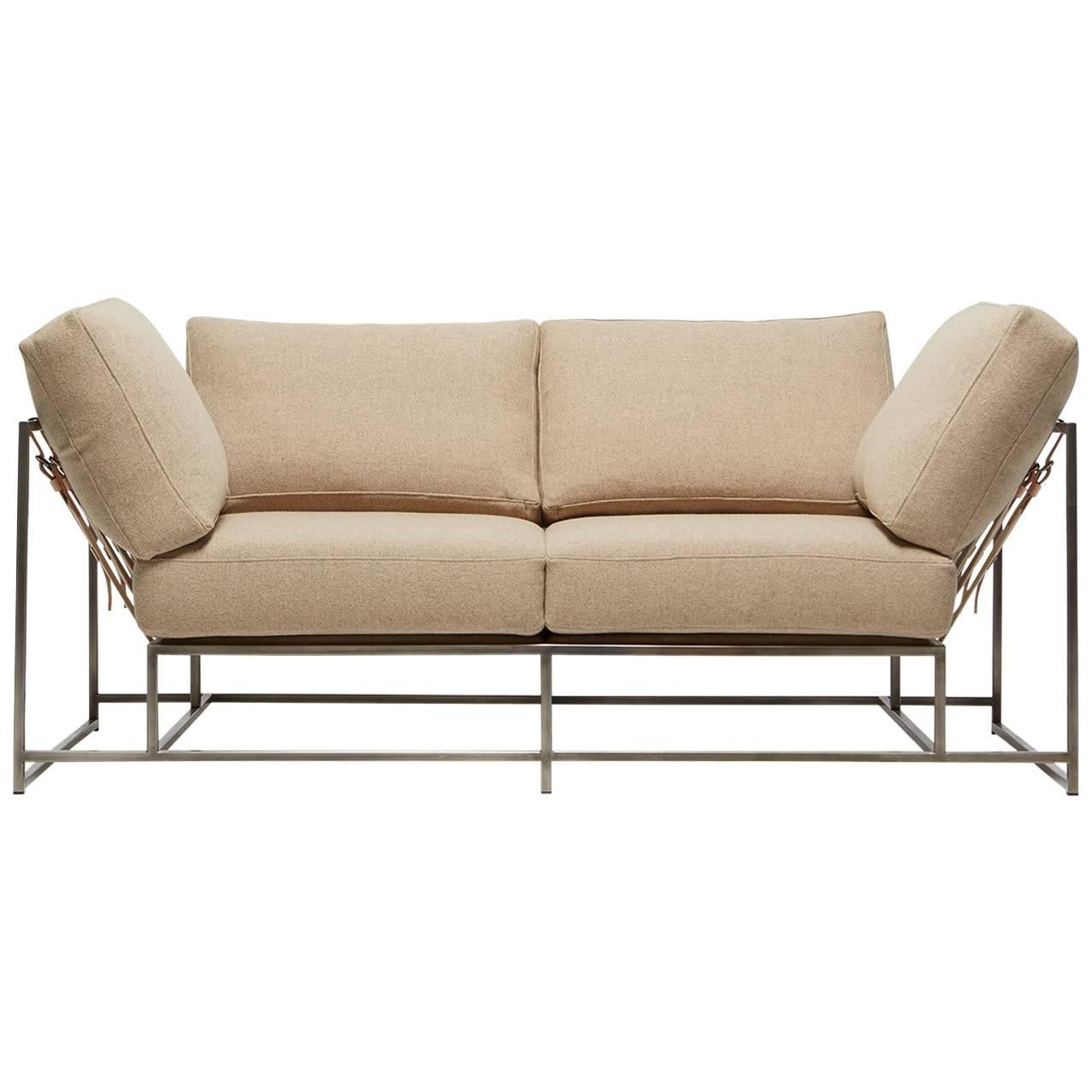 Stephen Kenn. Tan Wool And Antique Nickel Two Seat Sofa