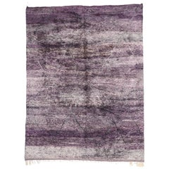 New Contemporary Purple Berber Moroccan Area Rug with Modern Style