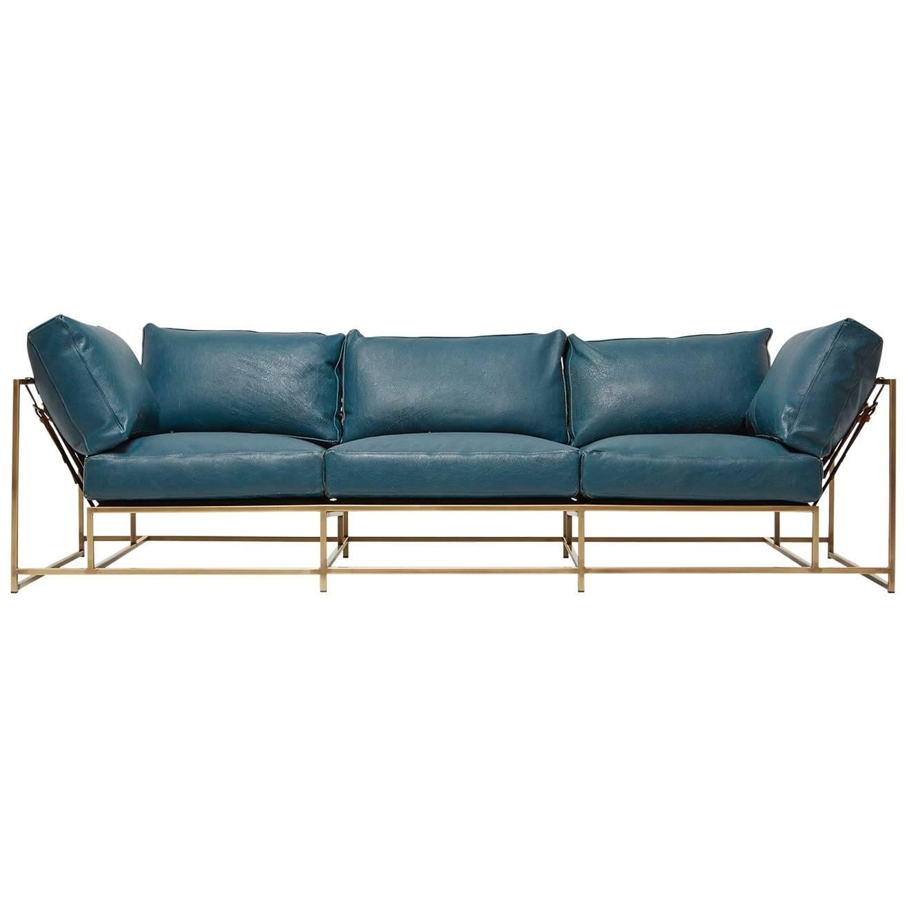 teal leather and light antique brass sofa for sale at 1stdibs rh 1stdibs co uk Teal Blue Sofa with Pillows teal velvet sofa for sale