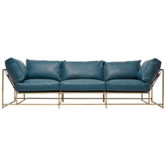 Teal Leather and Light Antique Brass Sofa