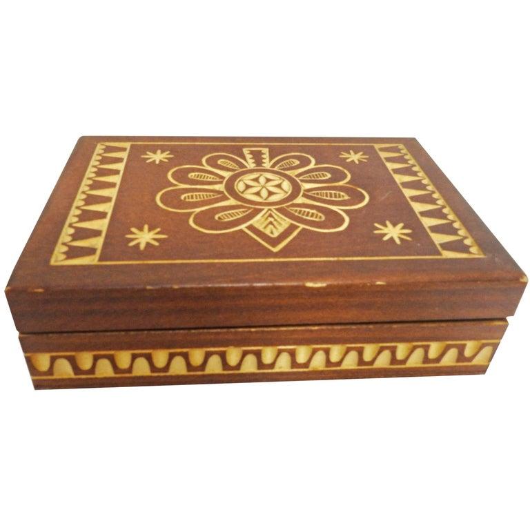 Vintage Hand-Carved Wood Box