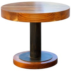 Walnut Slab and Steel Side Table by Rehab Vintage Interiors