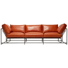 Encounter Cognac Leather and Blackened Steel Three-Piece Sofa