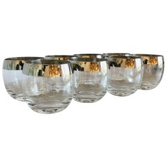 Mid-Century Modern Set of Eight Dorothy Thorpe Silver Overlay Roly-Poly Glasses