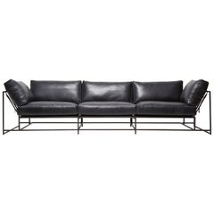Blue Smoke Leather and Blackened Steel Three-Piece Sofa