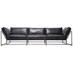 Blue Smoke Leather and Blackened Steel Three-Piece Sofa