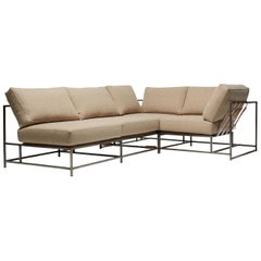 Tan Wool & Antique Nickel Small Sectional