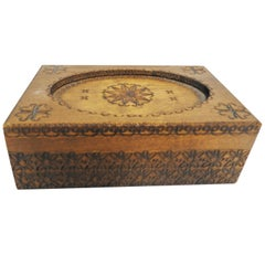 Vintage Hand-Carved Walnut Finish Box with Foliate Detail