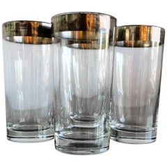 Mid-Century Modern Set of Four Dorothy Thorpe Silver Overlay Collins Glasses
