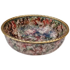 Solid Brass Multicolored Enamel Bowl, Late 20th Century, Italy