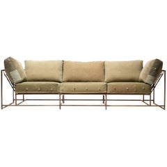 Vintage Military Canvas and Antique Copper Three-Piece Sofa