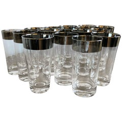 Mid-Century Modern Set of 16 Dorothy Thorpe Silver Overlay Cocktail Glasses